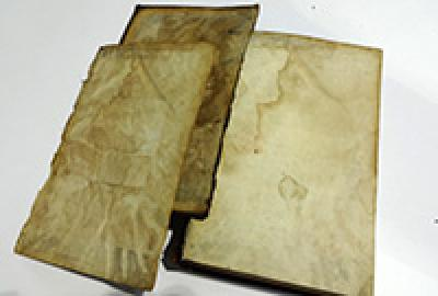 Water damaged board, endpaper and fly leaf